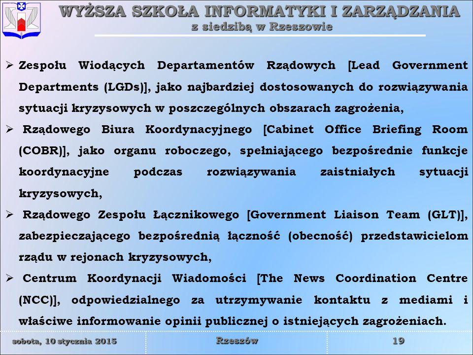 Zespołu Wiodących Departamentów Rządowych [Lead Government Departments (LGDs)], jako najbardziej dostosowanych do rozwiązywania sytuacji kryzysowych w poszczególnych obszarach zagrożenia,